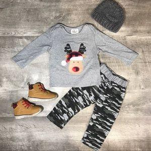 Boys Grey camo reindeer top and pants set